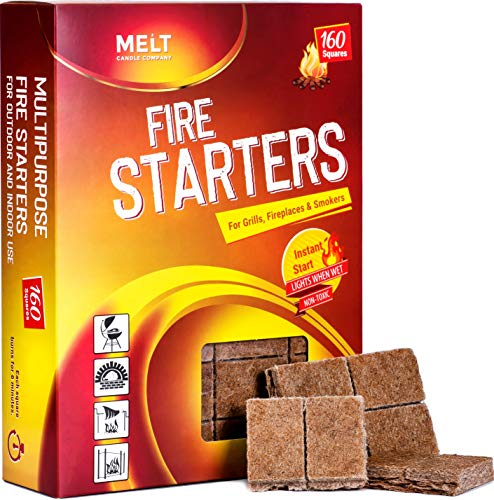 Fire Starters BIG PACK 160 Squares Charcoal Starter for Grills, Campfire, Fireplace, Firepits, Smokers.No flare ups & flavor. FireStarter for...