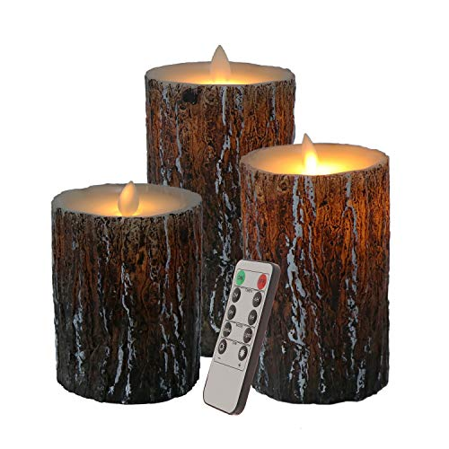 3PCS Flameless Candles Birch Bark Effect Flameless Candles with Dancing LED Flame Battery Operated Flickering Candles with Remote Control Cycling 24 Hours Timer