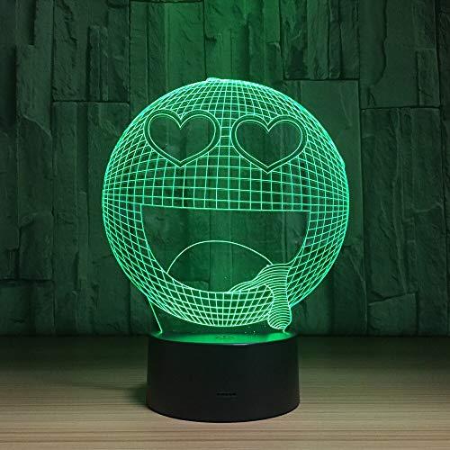 Lámpara 3D con cara de expresión asombrosa, interruptor táctil que cambia de 7 colores, lámpara de mesa de lava Rgb con Usb 3D, lámpara de mesa de lava para regalo de juguete para niños