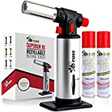 Professional Kitchen Butane Torch Adjustable Flame Refillable Torch Lighter with Safety Lock/&Gas Window Gauge for Cooking DIY/&Crafts Butane Gas not Included Semlos Blow Torch Baking Brulee Creme