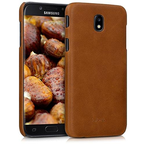 kalibri Schutzhülle kompatibel mit Samsung Galaxy J5 (2017) DUOS - Hülle Leder - Hardcover Handy Cover Hülle Cognac