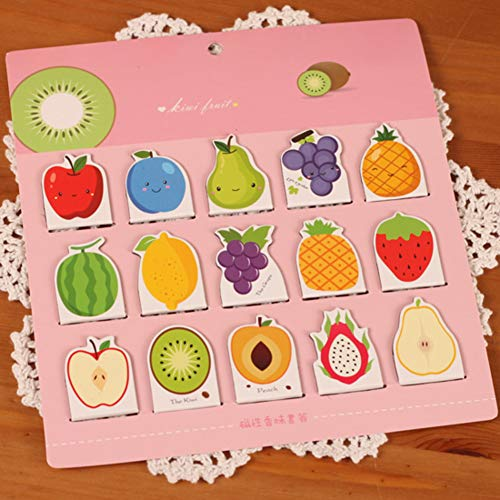 Magnetic Bookmarks, Creative Fruit Metal Book Marker Ideal Gift for Friends Family 15pcs-Pink
