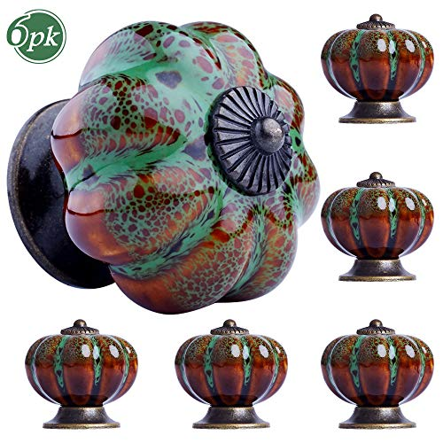 Möbelknopf Grün 6 Stück Möbelknöpfe Vintage Keramik Schrankknopf Porzellan Schubladenknöpfe