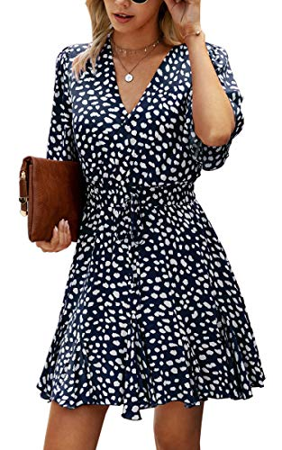 Spec4Y Rüschenkleid Damen Kurz Sommerkleid Mini V-Ausschnitt Strandkleid Elegant Taille Blumen Punkte Freizeitkleider Partykleid