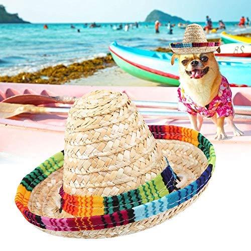 HEEPDD Hund Hut,Haustier Strohhut, Hund Katze Mini Stroh mexikanischen Sombrero Stroh geflochtene Sonnenhut mit Baumwolle Seil Anpassung für Hunde Welpen Katzen Kitty Kätzchen