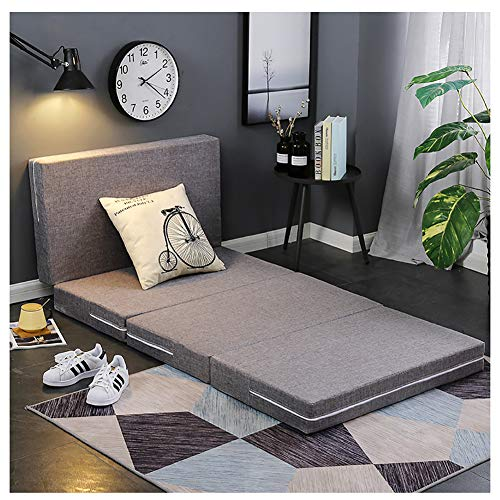 HZW Japanese Tri-Folding Topper Mattress, Floor Mat with Removable Washable Cover Best for Visitors Sleepovers Single Portable Foldable Car Trips Camping or Dorm Room Bed,C,120cm×200cm/47x79 inch