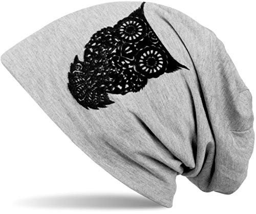 styleBREAKER Klassische Beanie Mütze mit Eulen Flock-Print, Damen 04024040, Farbe:Hellgrau