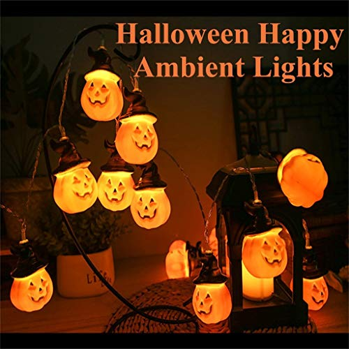DFVVR Novelty Funny Toys, Halloween Pumpkin Lights LED String Lights Halloween Decoration, Halloween Pumpkin Lantern Led Light String 3 Meters 20 Lights, Usb Version, Toys and Hobbies (Yellow)