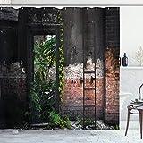 ABAKUHAUS industriell Duschvorhang, Ziegel Pflanzen, mit 12 Ringe Set Wasserdicht Stielvoll Modern Farbfest & Schimmel Resistent, 175x200 cm, Mehrfarbig