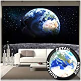Great Art Fototapete – Planet Erde – Wandbild Dekoration Welt Earth Mond Galaxy Universum All Cosmos Space Weltkugel Sterne Moon Weltall Orbit Wandtapete Fotoposter Wanddeko (336 x...