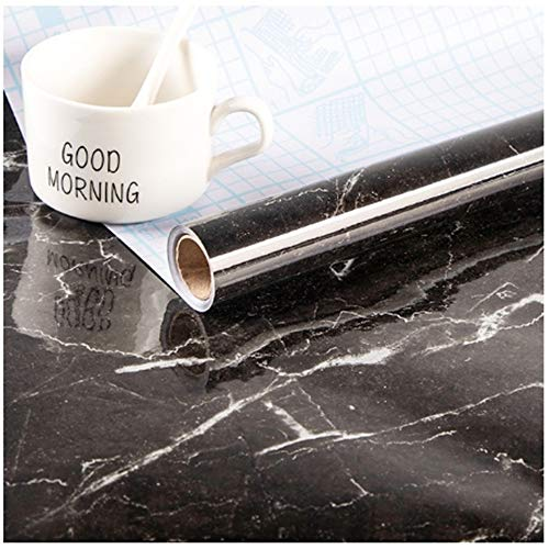 YCYY Modern Kitchen Stickers Waterproof Oilproof Classic Marble Pattern Wall Stickers Protect Desktop One Piece Self-Adhesive New Blac