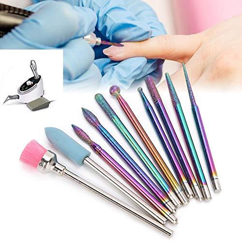 Forets à ongles, 10 pcs Forets à ongles électriques Set Manucure Pédicure Machine à polir les ongles Accessoire de tête de meulage