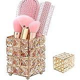 Soporte para Brochas Maquillaje, Organizador Brochas Maquillaje, Metal + Cristal Elegante Lujo Soporte Brochas Maquillaje para Delineadores Labios, Delineadores Ojos, Almohadillas Maquillaje (Dorado)