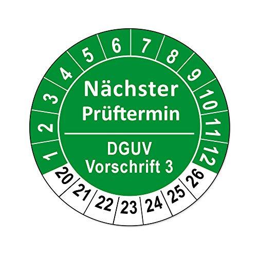 Prüfplaketten DGUV Vorschrift 3 und 4 Folienaufkleber auf Rolle (DGUV Vorschrift 3, Grün, 250)