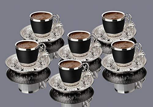 Tazas Juego De Regalo Vintage De 6 Tazas De Café De Porcelana Espresso Demitasse, Platillo, Tazas Negras (Oro)-Plata