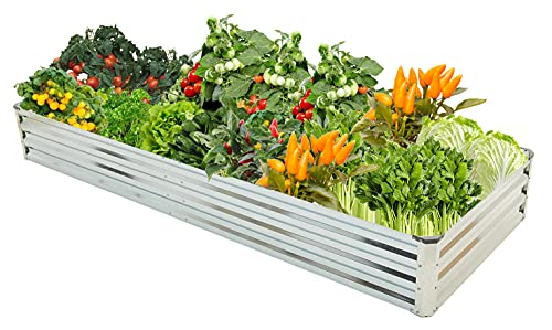 Fameill Raised Garden Boxes Outdoor Galvanized Garden Bed Planter for Vegetables Flower Herb Garden,Metal Patio Planter Bed Kit with Corner Protection, 8×3×1 ft,Silvery