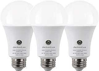 Dusk to Dawn Light Bulb JackonLux Outdoor Smart Light Bulb A19 8W 800 Lumen Automatic On/Off Sensor Bulb for Yard Porch Patio Garage Garden (Daylight, 3 Pack)