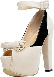 KOLNOO Handmade Womens Chunky Heel Pumps Butterfly Peep-toe Platform Dress Shoes Large Size Fashion Court Shoes