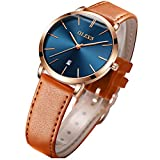 OLEVS Women's Watches for Ladies Female Wrist Watch Navy Blue Dial Brown Leather Band Waterproof Thin Minimalist Fashion Casual Simple Dress Quartz Analog Classic Gifts with Date Calendar Rose Gold