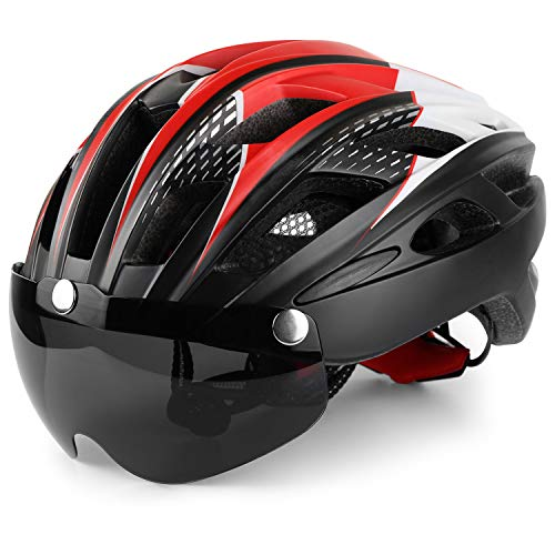 Basecamp Bike Helmet, Bicycle Helmet Cpsc&Ce Certified Cycling/Climbing Helmet Bc-069 with Detachable Magnetic Goggles Visor&Led Back Light&Portable Backpack Adjustable for Men/Women Mountain