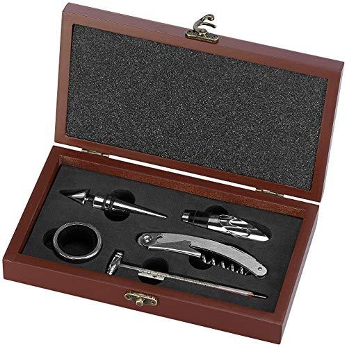 Rosenstein & Söhne Weinset: 6-teiliges elegantes Wein-Sommelier-Set in edler Holzschatulle (Sommelier Werkzeug)