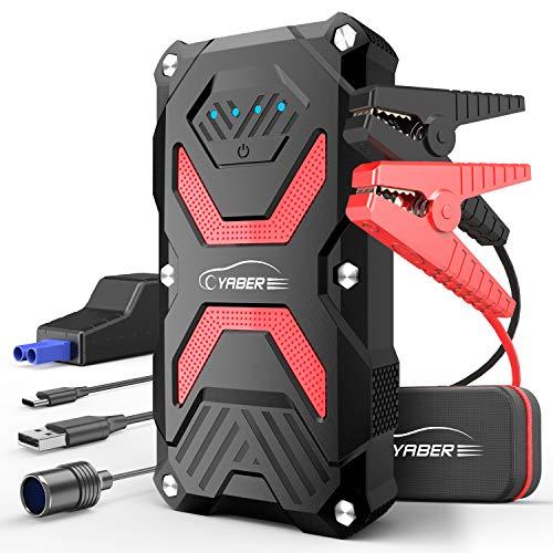 YABER Arrancador de Coches,13800mAh 1000A Arrancador Batería Coche (para hasta 6.0L de Gasolina o 5.0L Diesel) IP67 Impermeable Jump Starter Batería para Emergencias, con Carga Rápida QC3.0