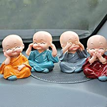AGARWAL TRADING CORPORATION Kung Fu Cartoon Little Monk Doll Decoration Auto Car Dashboard Ornament Toy - Set of 4 Pieces
