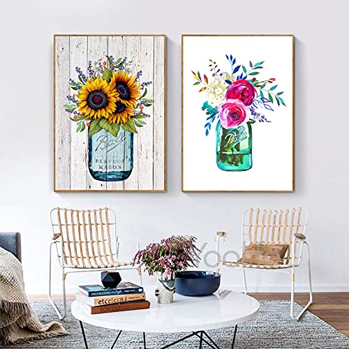 Flores de acuarela Impresión de tarro de masón Kerr Ball Jar Ramo Arte de la pared Pintura de la lona Peonía Rosa Imagen rosada Decoración de la pared de la habitación del hogar 40x60cmx2 Sin marco