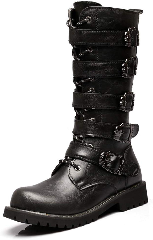 HGDR Men's PU Leather Boots Buckle Belt Martin Boots Zipper Mid Calf Short Boot Cowboy Biker Motorcycle Boots For Gentlemen Abrasion Resistant