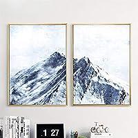 キャンバス上の写真抽象的な山のキャンバス雪の風景壁アート現代の家の装飾風景リビングルーム寝室のポスター60x80cmx2フレームレス