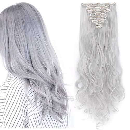 Extension Cheveux a Clip Curly [ 8 Pièces 18 Clips ] On Dirait de Vrai Cheveux [60CM][Gris Argenté]