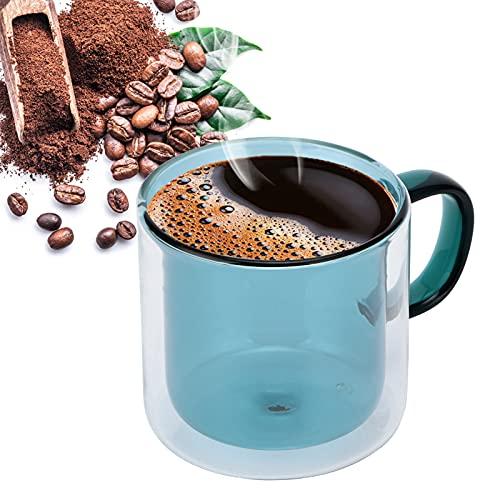 Taza de café, taza de vidrio resistente al calor para vino tinto, vino blanco, agua con gas(Lake Green)