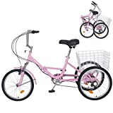Slsy Adult Folding Tricycles, 7 Speed Folding Adult Trikes, 20 Inch 3 Wheel Bikes with Low Step-Through, Foldable Tricycle with Basket for Adults, Women, Men, Seniors. (Warm Pink, 26' Tire 7-Speed)