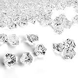 Piedras de Hielo Falsas,100 PCS Transparentes de Diamantes Falsos Cubitos de Acrílico Cubos Cuadrados de Cristal Plástico Gemas para Rellenos de Jarrones Dcoración de Mesas Bodas Hogar 16 x 22 mm