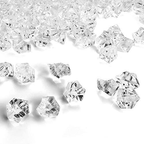 Piedras de Hielo Falsas,150 PCS Transparentes de Diamantes Falsos Cubitos de Acrílico Cubos Cuadrados de Cristal Plástico Gemas para Rellenos de Jarrones Dcoración de Mesas Bodas Hogar 11*14mm