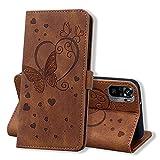 Keikail Funda Xiaomi Redmi Note 10 4G / Note 10S, Flip Caso Magnética Tarjetero Tapa de Cuero, Patrón de Mariposa, Carcasa Libro Protección para Xiaomi Redmi Note 10 4G / Note 10S, Marrón