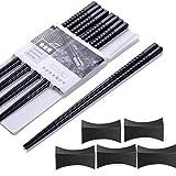 Haosell - Bacchette asiatiche, 5 paia + 5 supporti, colore: nero