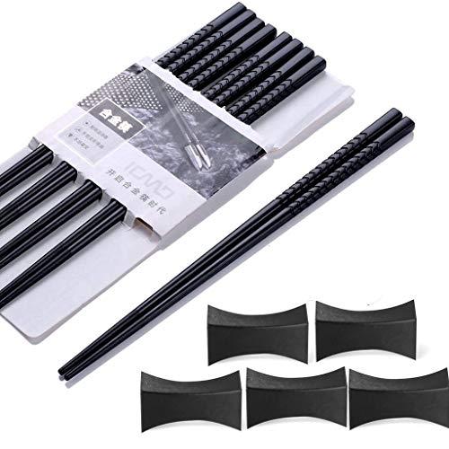 Haosell EssStäbchen 5 Paar + 5 pcs Essstäbchenbblagen Japanische Chopsticks Schwarz chinesische stäbchen Alloy Chopsticks Stäbchen für Asiatisches Geschirr Wiederverwendbare EssstäBchen Waschbar