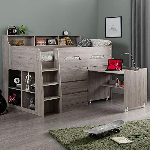 Grey Oak Wooden Kids Bed, Happy Beds Jupiter Mid Sleeper with Storage and Desk - 3ft Single (90 x 190 cm) Frame Only