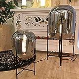 loonju Spiegelglas Stehen Lampe für Wohnzimmer Schlafzimmer Küche Bed Side Jahrgang Stehleuchte Replica Designer Glaskugel Stehlampe, Grau und Schwarz, Höhe 1370 mm