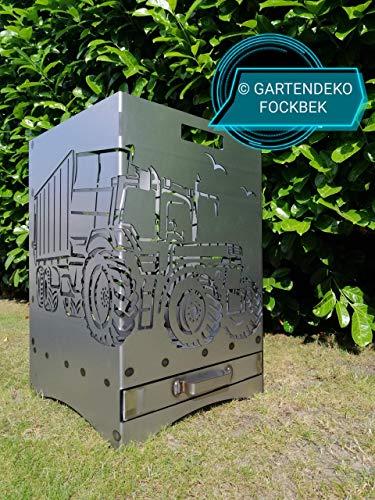 """Feuerkorb Feuerstelle Maße 40x40x60 cm Motiv\"""" Trecker 3 mit Ladewagen\"""" inkl. Ascheschublade und Zwischenboden sehr stabil GARTENDEKO FOCKBEK"""