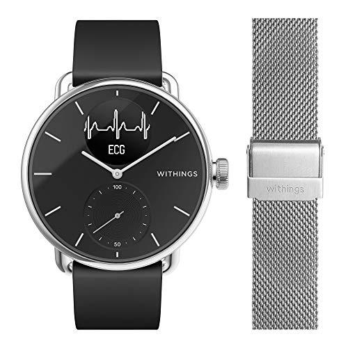 Withings ScanWatch mit Zusatzarmband im Bundle - Hybrid Smartwatch mit EKG, Herzfrequenzsensor und Oximeter, 38mm, schwarz, mit 18mm FKM-Armband schwarz + zusätzliches 18mm Mailänder Armband Silber