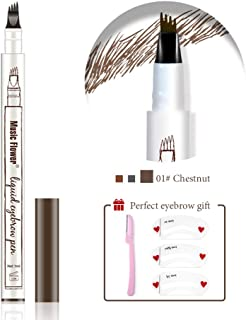 Eyebrow Tattoo Pen,Microblading Eyebrow Pencil with a Micro-Fork Tip Applicator Creates Natural Looking Brows Effortlessly and Stays on All Day(Chestnut)