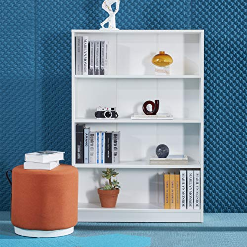 Open Storage 4 Shelf Bookcase, Wood Book Shelf, White