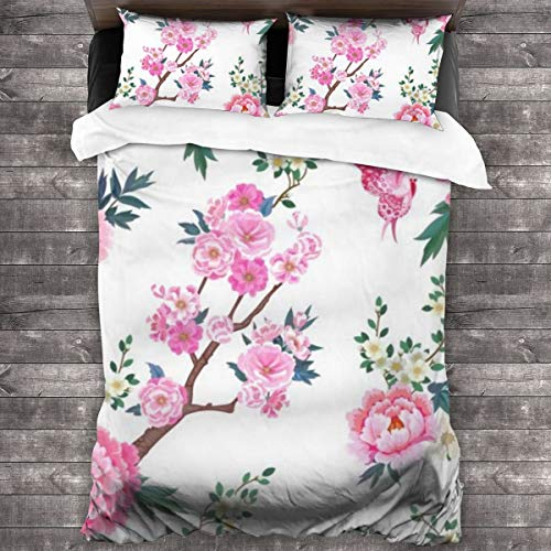 ZUL Duvet Cover Set,Blooming Sakura, Pink Peonies Plum Branches And Flying Butterflies,Decorative 3 Piece Bedding Set with 2 Pillow Shams,220 * 260cm*1
