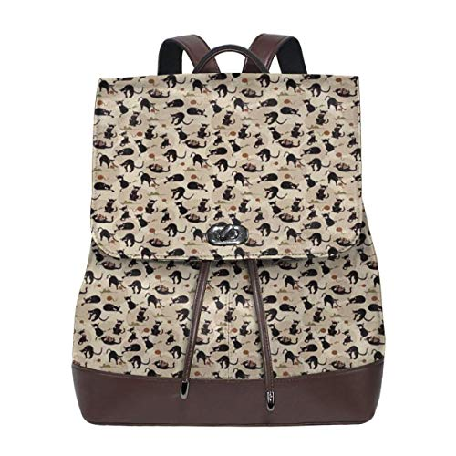 Women's Leather Backpack,Hand Drawn Feline Pattern House Pet Playing with Mouse and A Ball of Yarn,School Travel Girls Ladies Rucksack