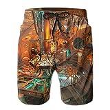 KLING Mens Science Fiction Research Room Shorts Bolsillos Bañador Shorts de Playa, Boardshort,L