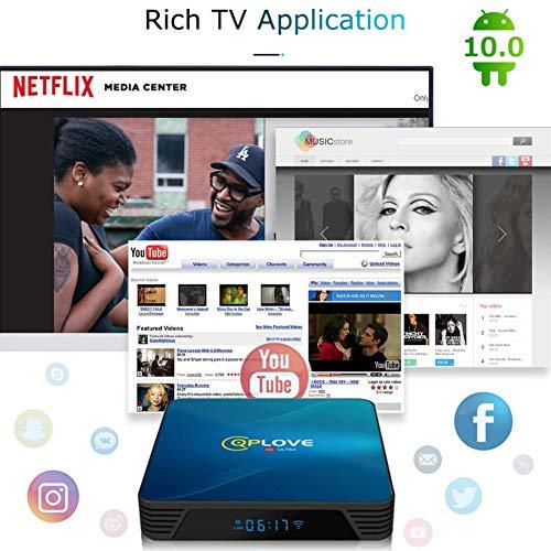 4GB 128GB TV-Box Android 10.0 QPLOVE Smart Android TV-Box 4K RK3318 Quad-Core 64-Bit H.265 HDMI2.0 USB 3.0 WiFi 2.4G 5G Android-Box mit Mini Wireless Backlit Keyboard