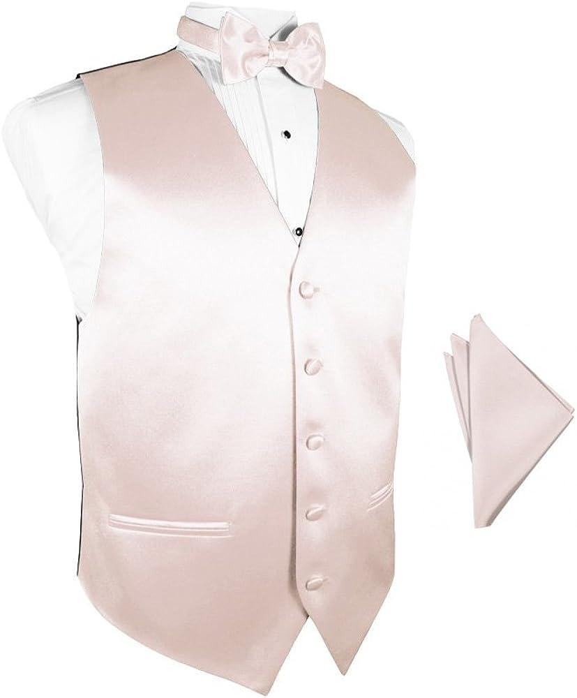 Blush Satin Tuxedo Vest with Bowtie & Pocket Square Set
