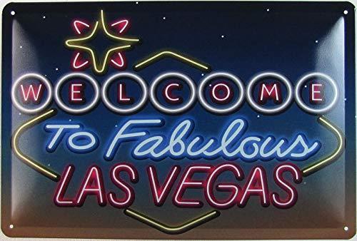Cartel de chapa de 20 x 30 cm, curvo, «Welcome to Fabulous Las Vegas», neón, decoración, regalo
